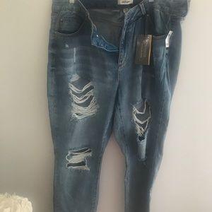 Charlotte Russe Plus Distressed Boyfriend Jeans